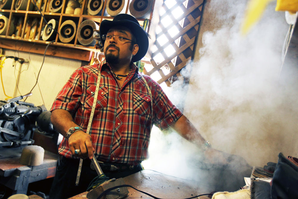 David Torres, owner of Texas Hatters in Lockhart, TX. (Jennifer Whitney for Cooking Channel)