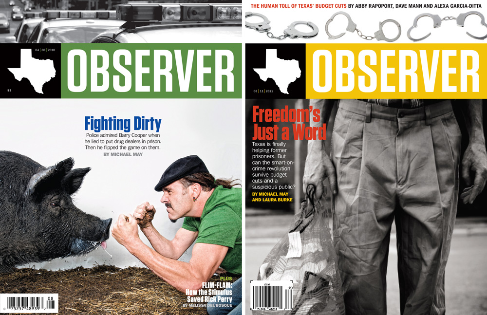 The Texas Observer covers: Left: Matt Wright Steel; Right: Lance Rosenfield