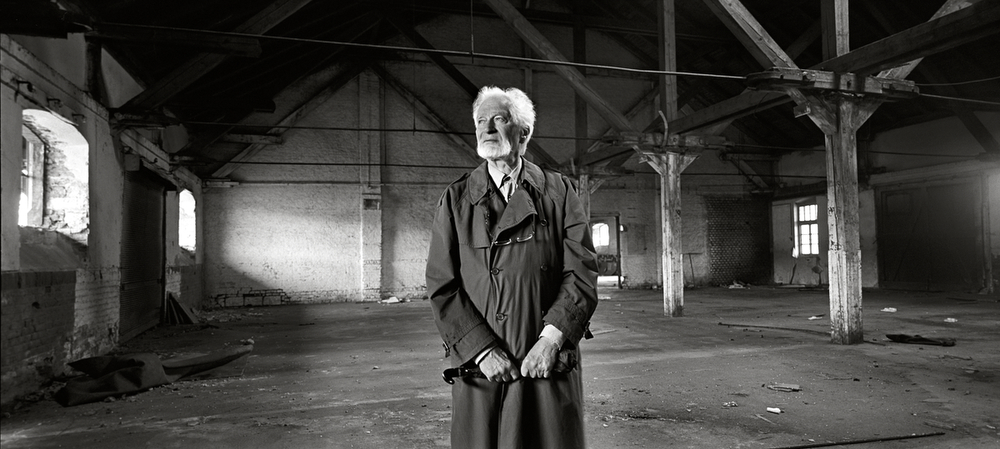 Toman Brod photographed in a WWII vintage rail building located in Bubny Rail Yards from where he was transported - Prague, Czech Republic, June 2012