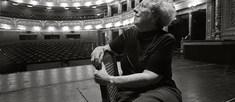 Eva Hermannovd on stage of Prague's National Theater. Eva was deported to Terezin at the beginning of her fourteenth year. Her days there were then spent working at agricultural jobs in the fields surrounding the ghetto.