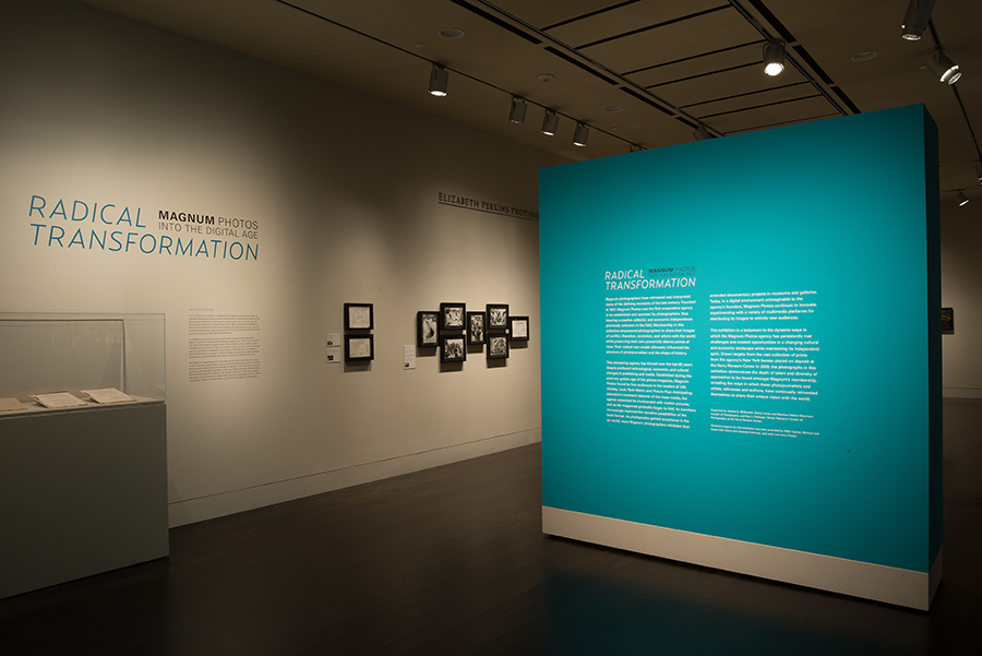 The exhibition Radical Transformation: Magnum Photos into the Digital Age. Photo by Pete Smith. Image courtesy of Harry Ransom Center.